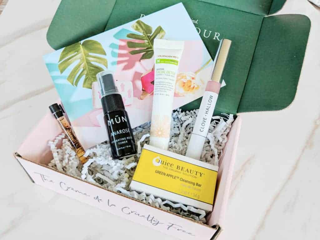 Array of Petit Vour beauty box samples shown in box