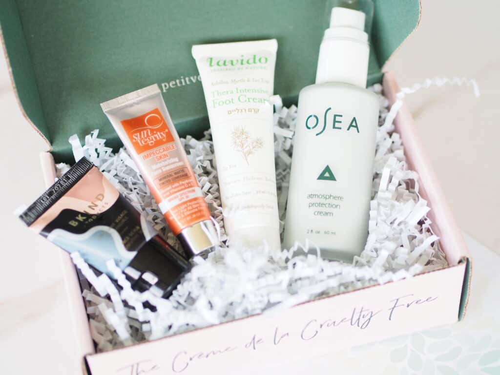 Organic non toxic clean beauty box filled with products