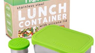 NomBox Leak Proof Stainless Steel Bento Lunch Box Container with Silicone Lid | BUNDLE With BONUS Dipping Sauce Container (2 Items)