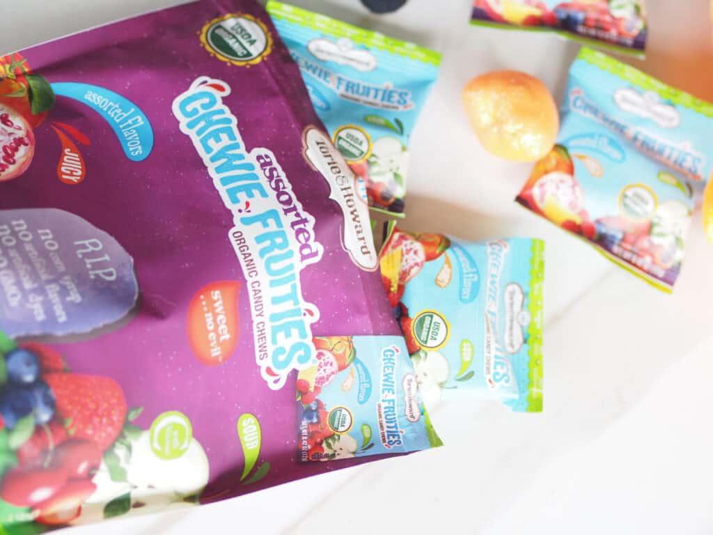 OPen bag of Chewie Fruities organic candy