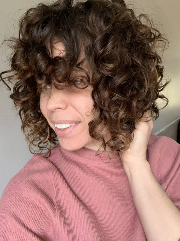 A side view of Curly Colleen's hair curly chronicles