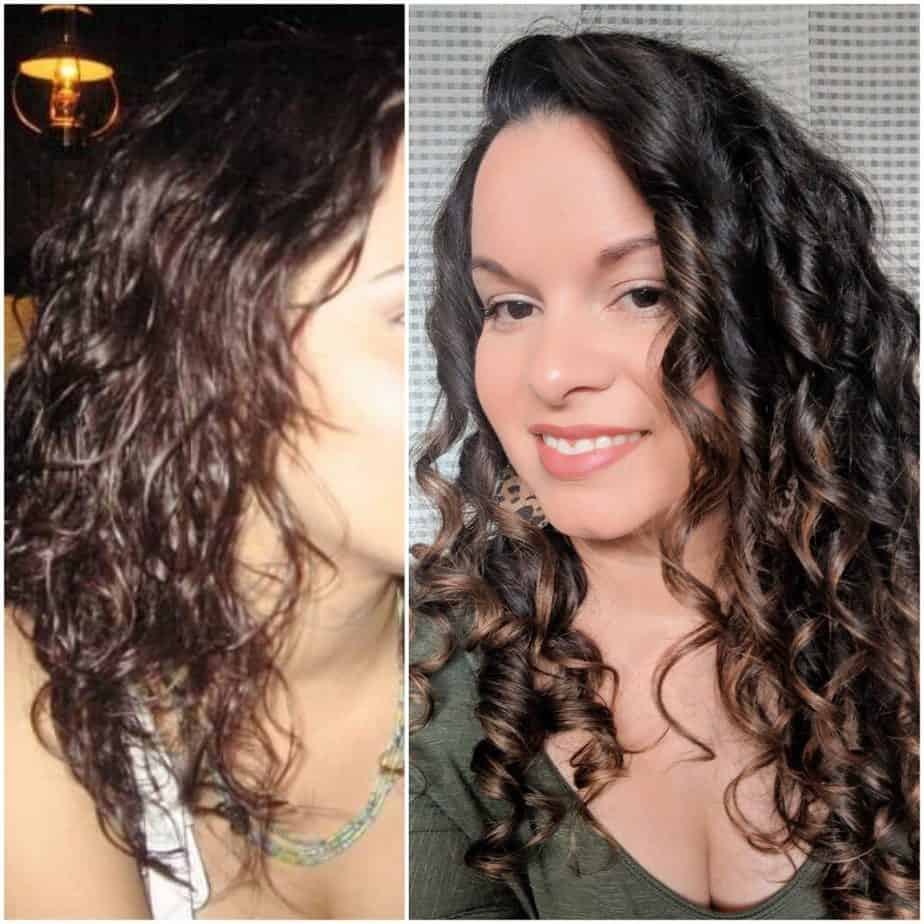 Before and after comparison of Delilah's waves at the beginning of her curly girl journey and curls now