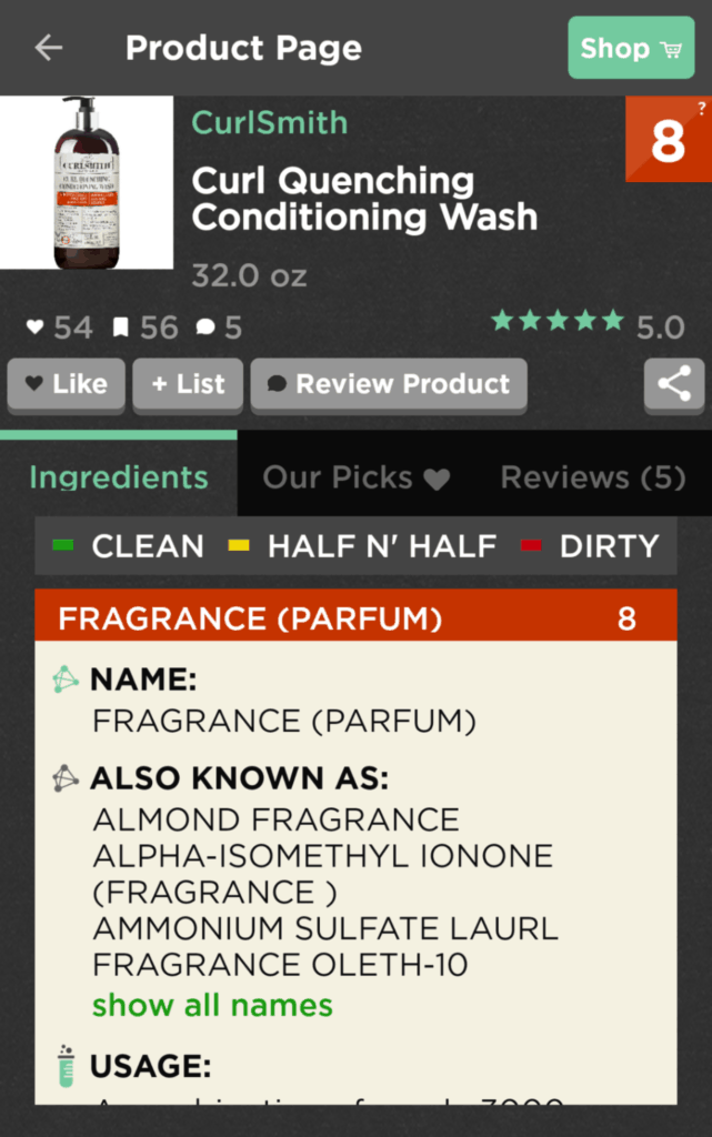 The results of a app rating CurlSmith Curl Quenching Conditioning Wash for potentially harmful or irritating perfume /fragrance